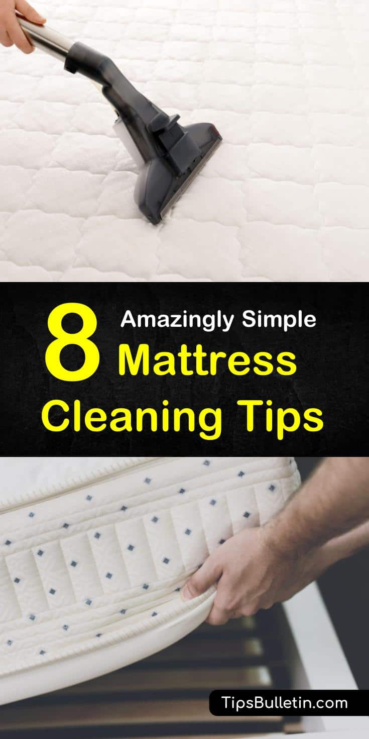 Master the best ways to clean urine stains off a mattress. Essential oils and baking soda will kill dust mites and make that stain and that smell vanish. Use hydrogen peroxide on the deep stains. #mattresscleaning #clean #mattress