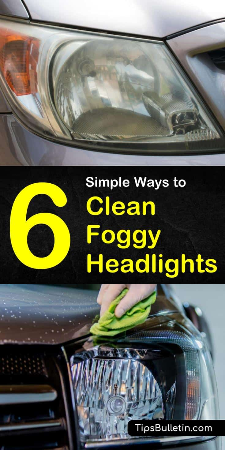 Discover six simple ways to clean foggy, yellowed car lights using many items that you have in your own home. Learn how to make DIY remedies using vinegar, baking soda, and even toothpaste to get those headlights looking like new. #diyheadlightcleaner #foggyheadlights #headlights
