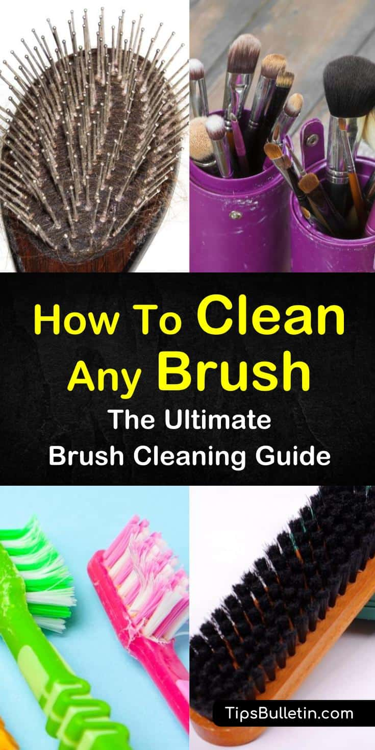 Learn the best methods for how to clean a brush for your hair using baking soda, tea tree oil, or shampoo. Find out how often you should clean all your different types of brushes. Try disinfecting your toothbrushes with hydrogen peroxide and boiling water. #clean #hairbrush #toothbrush #boarbristles
