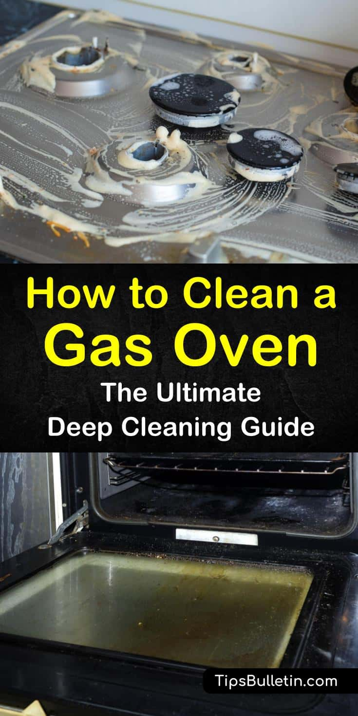 Learn how to clean a gas oven using simple, easy household cleaners. In our guide, we show you how to keep stainless steel stove and oven trim and surfaces looking their best. Your kitchen will gleam and shine, and your family will have good things to say. #gasoven #cleaning