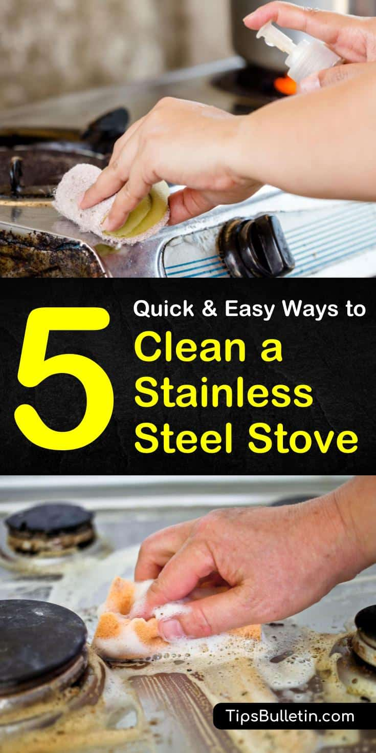 Learn how to clean your stainless steel stove and other kitchen appliances with this quick cleaning guide! Using cheap and accessible ingredients like baking soda and vinegar, you can learn how to remove stains and build up! #stainlesssteelstove #ovencleaning