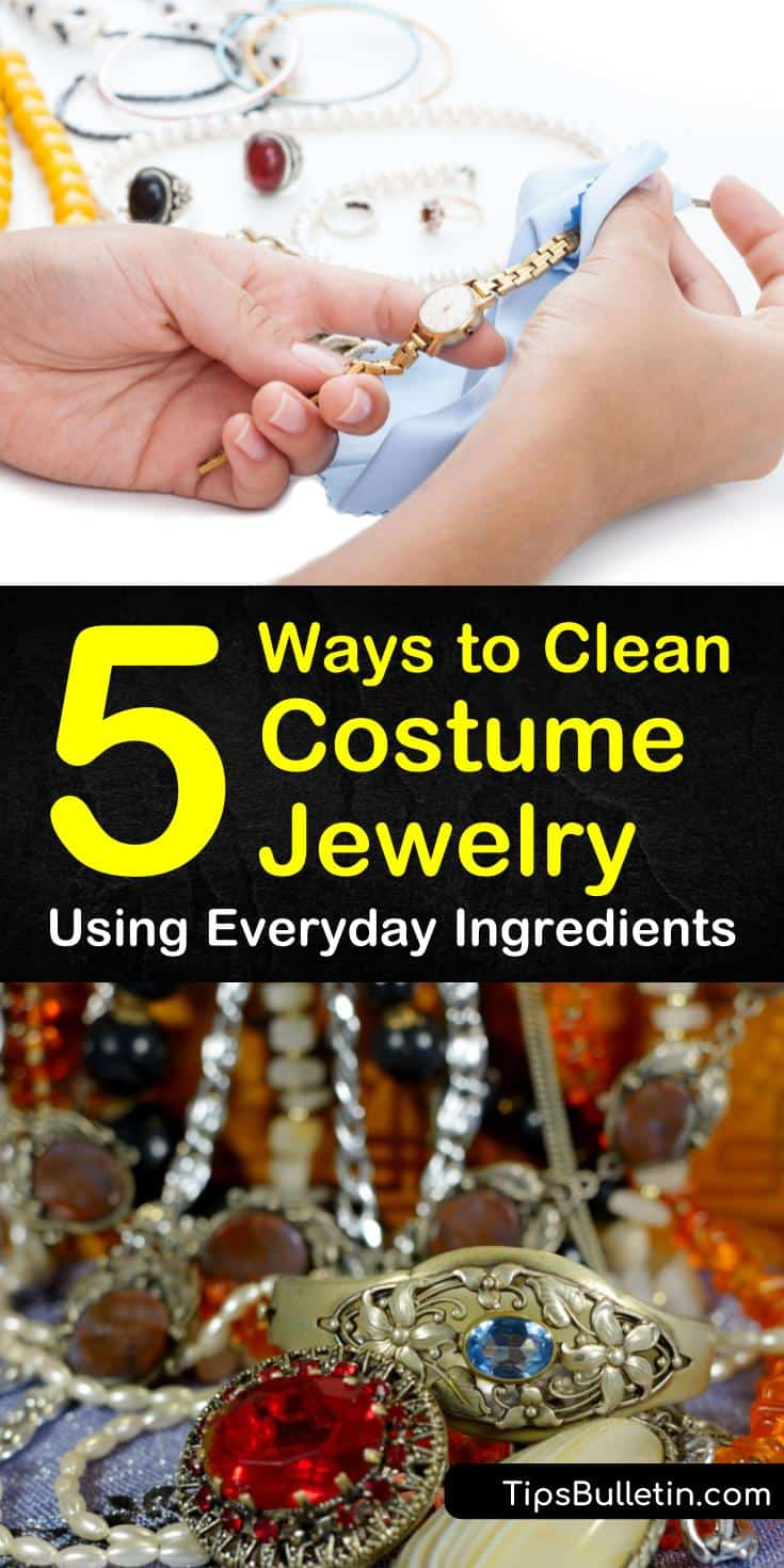 Tips and tricks for how to clean costume jewelry like necklaces and bracelets. Learn how to clean sterling silver and gold-plated costume jewelry at home. Use these simple methods to remove tarnish and discoloration using baking soda. #clean #costume #jewelry #tarnish #DIY