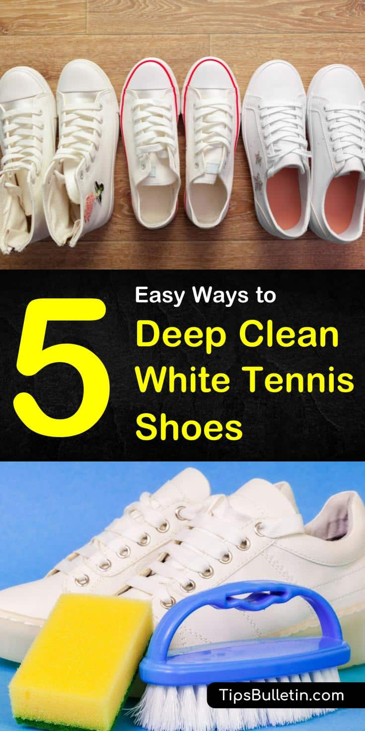 Discover excellent tips and tricks for deep cleaning those white tennis shoes using household items. DIY cleaning solutions using hydrogen peroxide, vinegar, toothpaste, bleach, pencil eraser, and more. Bring back the white to those Nike, leather, and canvas sneakers. #dirtywhiteshoes #cleanshoes