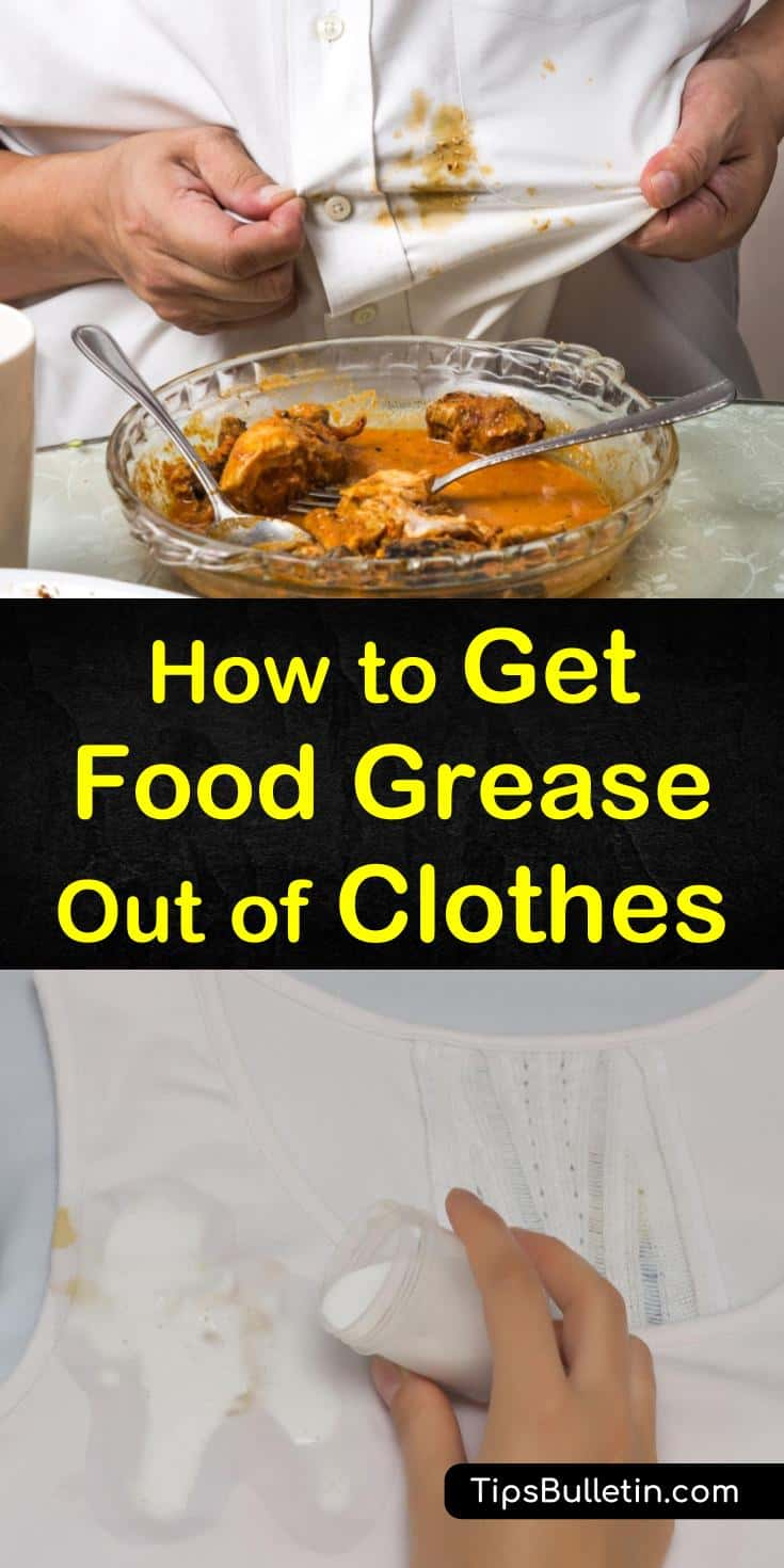 Getting oil stains and food grease stains out of clothing is not as difficult as you might think. We have some great tips and advice on how to remove bacon and pizza grease from your clothes using baking soda. #getgreaseoutofclothes #cleangrease #greasestain