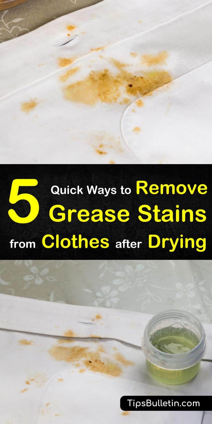 Find out how to remove grease stains from clothes after drying with our guide. We show you how to get grease out of shirts and other laundry using baking soda, white vinegar, hydrogen peroxide, and more. #greasestains #clothes #drying