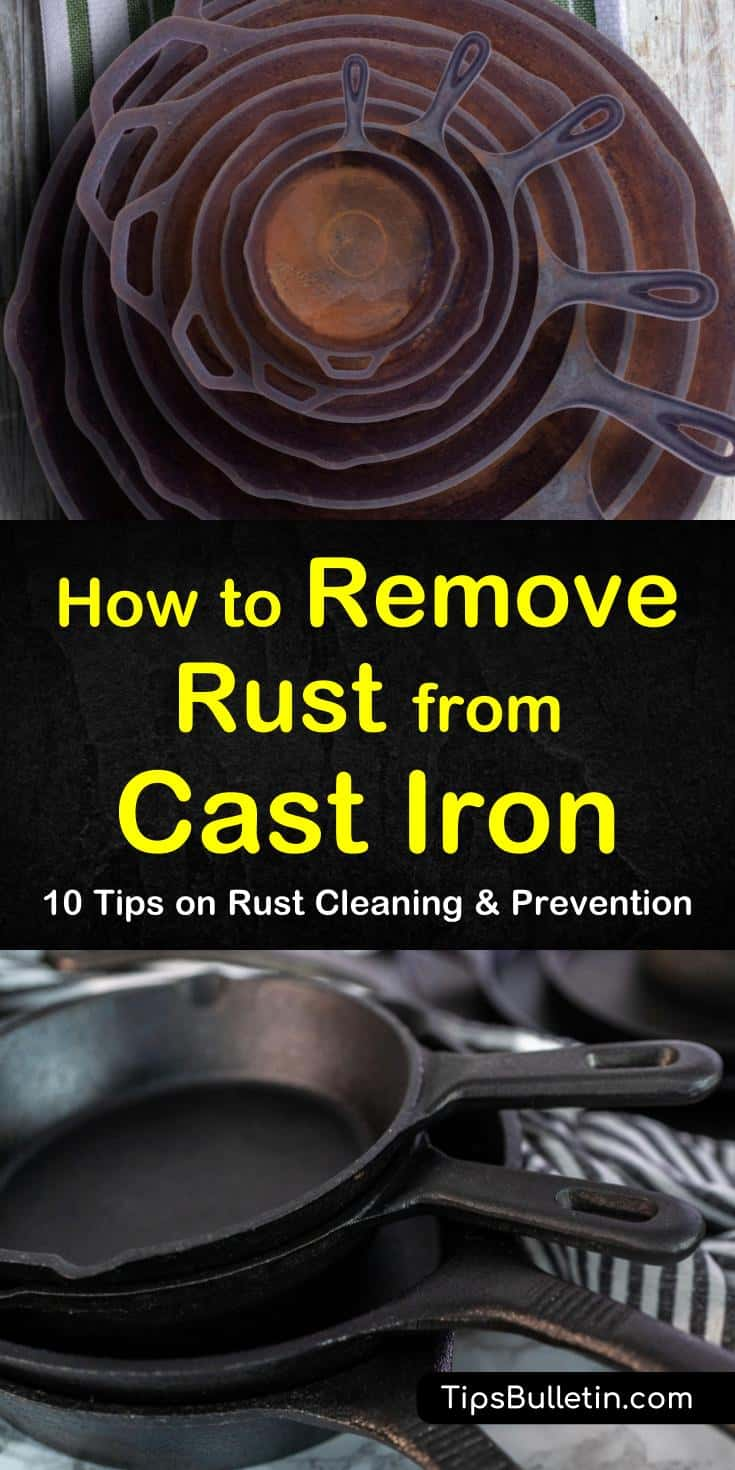 Learn how to remove rust from cast iron stoves, pans, and dutch ovens. Find out how to use products like baking soda and salt to scrape away rust particles. Use these tips and tricks to restore your favorite cast iron cookware in no time. #remove #rust #castiron #dutchoven #skillet