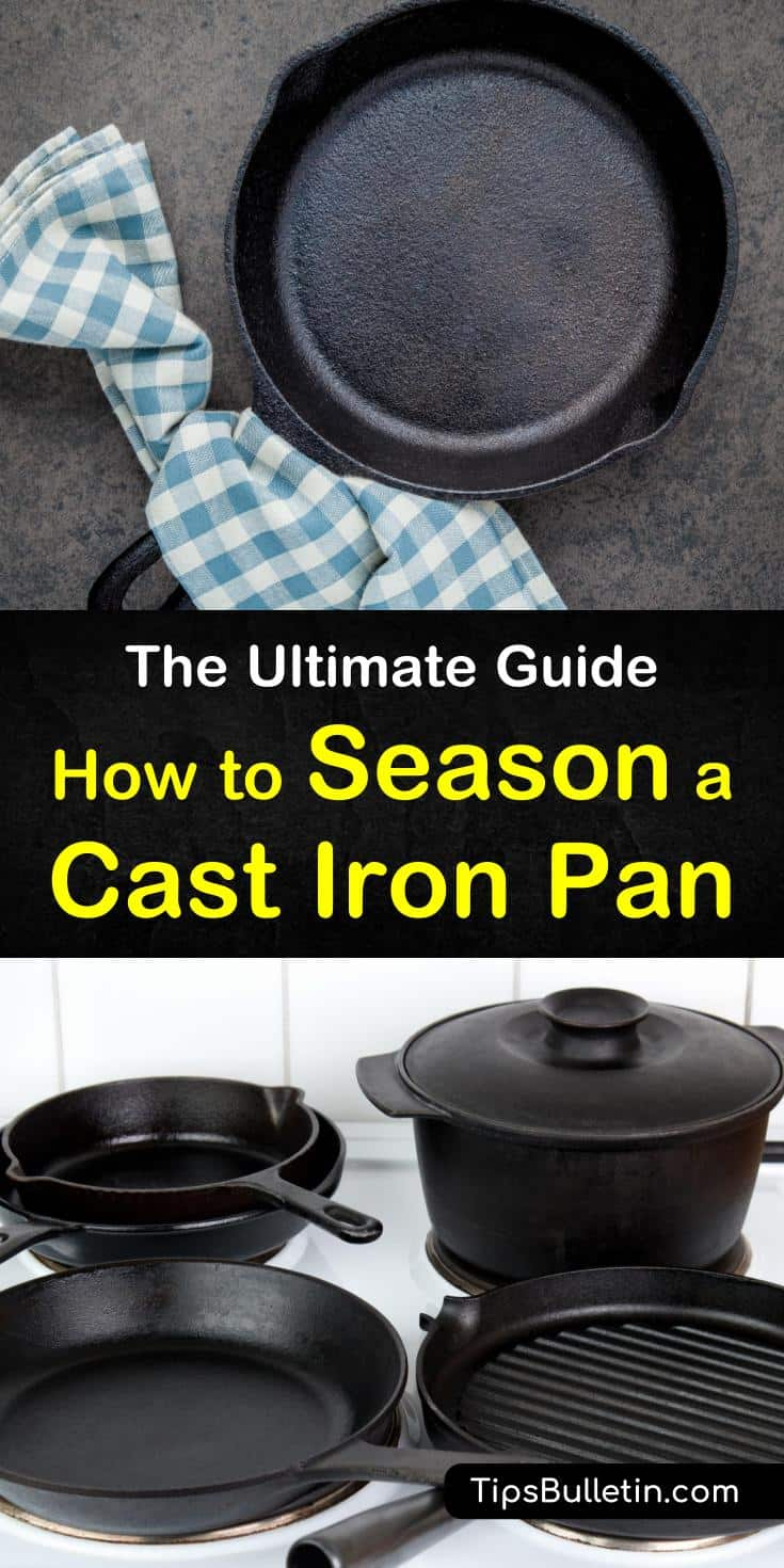 Find out how to season a cast iron pan and dutch ovens using cooking oils. Learn how to clean a cast iron pan using soaps that won't remove the seasoning. Discover new cast iron skillet recipes to use after seasoning. #howto #seasoning #castiron #pan #skillet