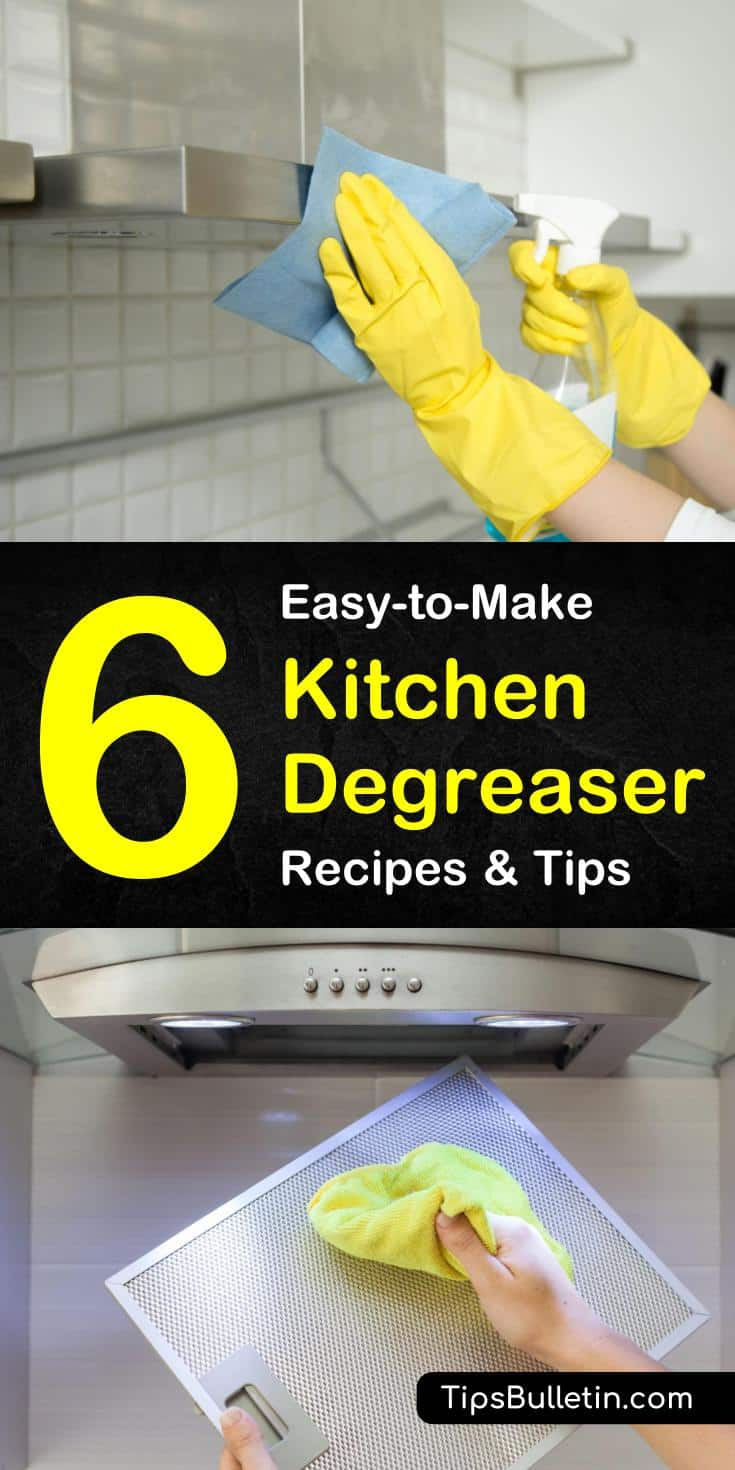 Check out these DIY recipes and cleaning tips for removing grease using baking soda and white vinegar. These sprays can be used in the home to clean the stove and other kitchen surfaces. #cleaninggrease #bakingsoda #degreaser