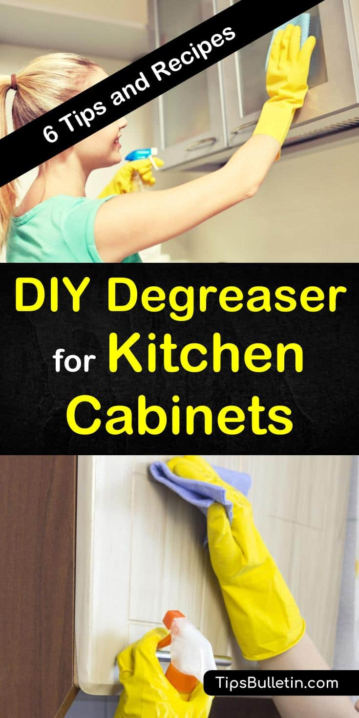 Discover six amazing tips and tricks for a DIY degreaser to clean kitchen cabinets. Remove grease and grime build-up with homemade cleaning products. Ingredients include Dawn dish soap, white vinegar, salt, baking soda, and water. #degreaser #kitchencabinets #cleancabinets
