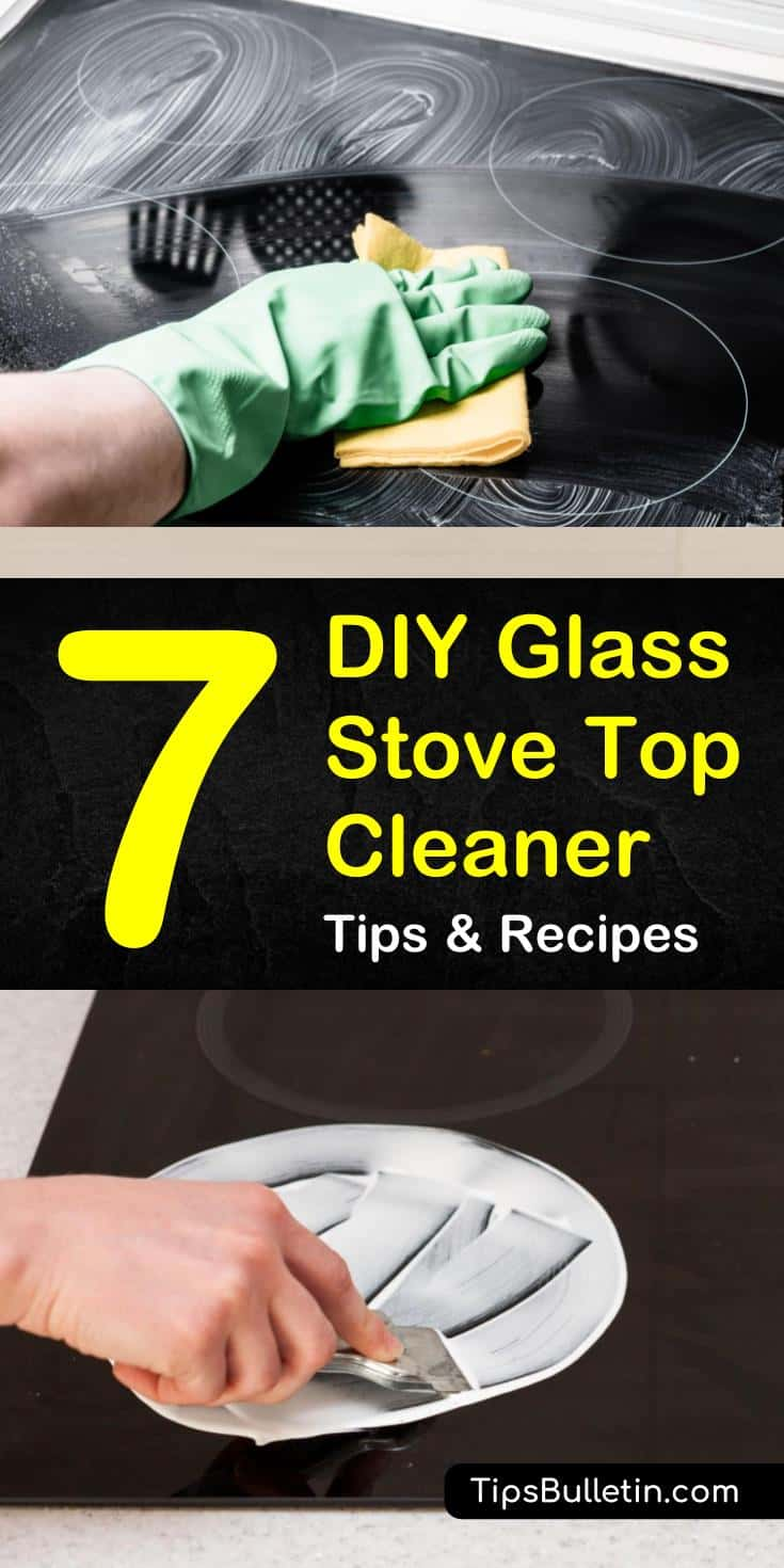 Glass top stainless steel stoves can be quite stunning when they are clean and shiny. We've got do it yourself recipes using vinegar, baking soda, and hydrogen peroxide to remove that grime from your glass stove. #cleanglassstovetop #glassstovetopcleaner #glassstovetop