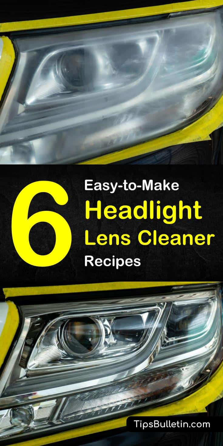 Cloudy or foggy headlights can create driving hazards. Our headlight cleaning tips teach you how to clear up those plastic lenses uses common household ingredients like baking soda, vinegar, dish soap, and salt. #car #headlights #cleanheadlights