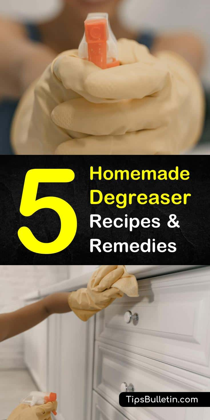 If you're curious about how to make homemade degreaser, look no further. Learn how to clean kitchen cabinets, stovetops, and even car engines uses these simple ingredients. Using products like baking soda, vinegar, and lemon juice create your own DIY grease cleaner. #homemade #degreaser #spray