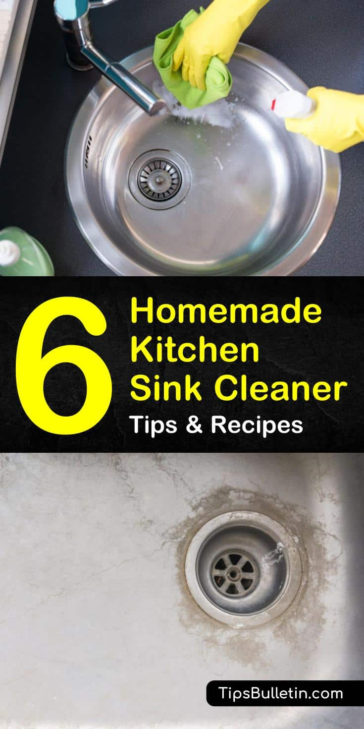 Try these 6 homemade kitchen sink cleaner recipes with Borax, vinegar, and even freshly-cut lemons. Discover cleaning tips for shining a stainless steel sink without scratching the surface. Find out which cleaners work as a drain cleaner to remove a clog. #homemade #kitchen #sink #cleaner