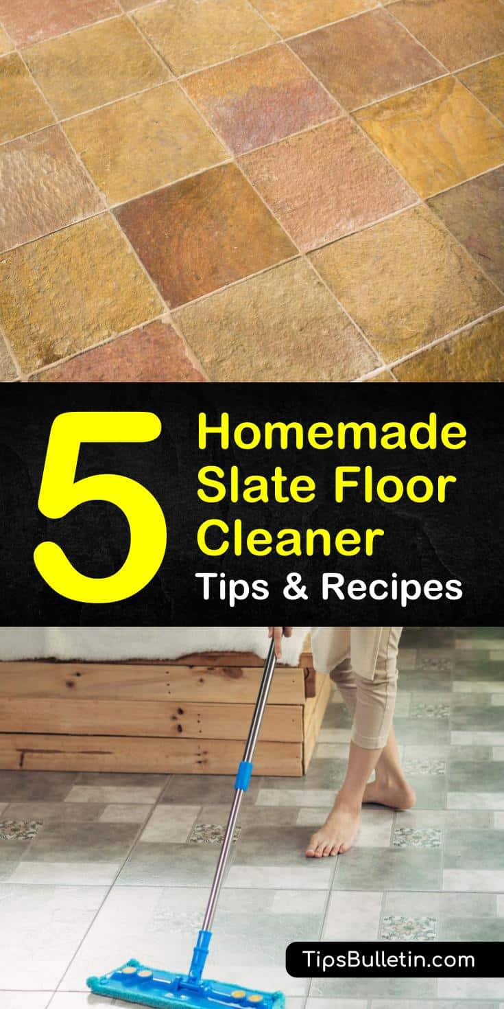 Use these 5 homemade slate floor cleaner recipes and tips to treat your tile floors with care. Try cleaning products like baking soda and hydrogen peroxide that won't damage slate floors. Learn the best ways for mopping with a wet mop or dust mop on slate. #homemade #slate #floor #cleaner #diy