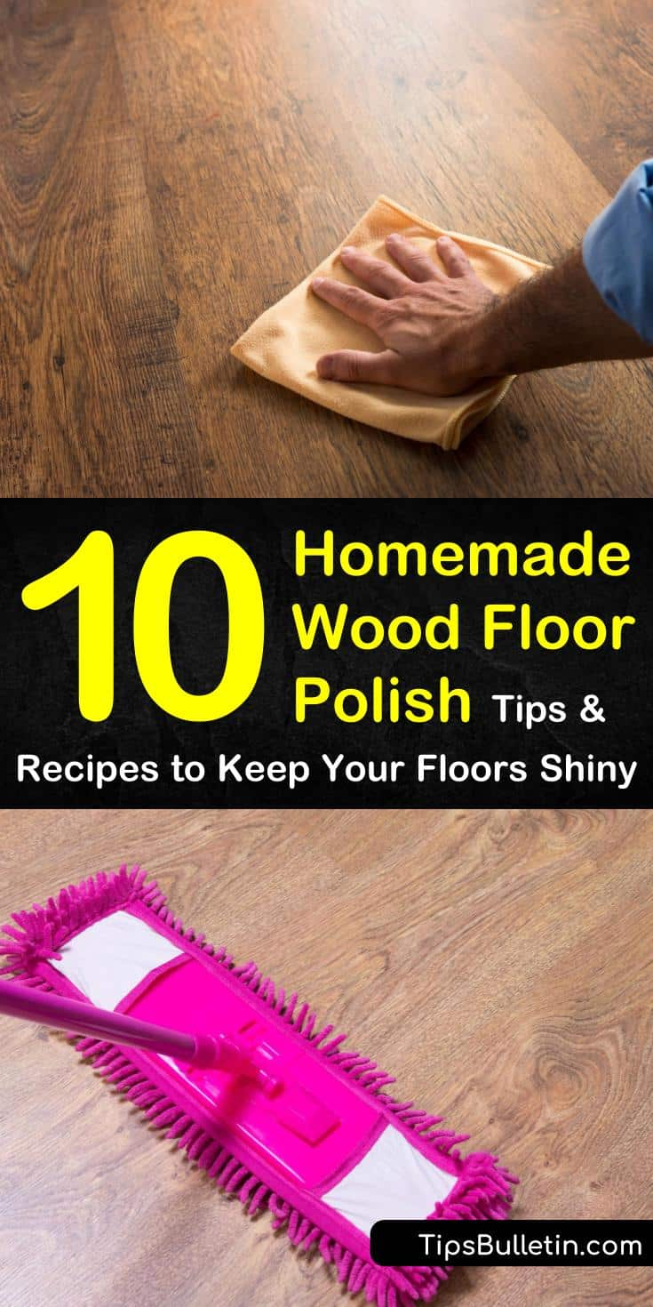 Curious about using a homemade wood floor polish on your floors? Look no further than these incredible cleaning solutions made with white vinegar and olive oil. Use any of these 10 cleaning tips to condition hardwood floors and remove grease and grime. #homemade #wood #floor #polish #diy