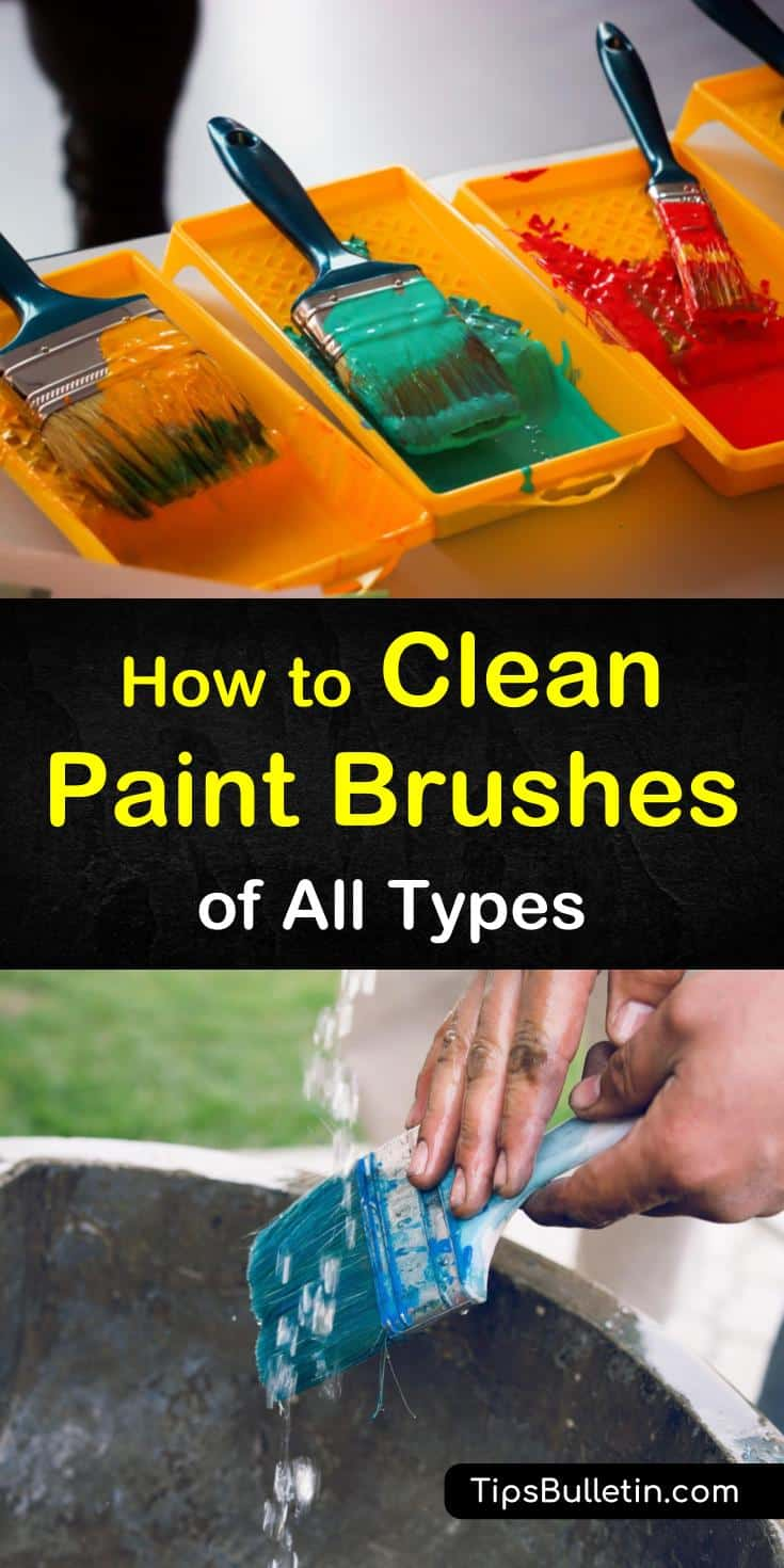 Discover how to clean paint brushes used for acrylics or oil painting with vinegar, fabric softener, and other DIY options. We show you how to get dried paint out of your households and make your home spaces look great fast. #painting #cleanpaintbrush #paintbrush