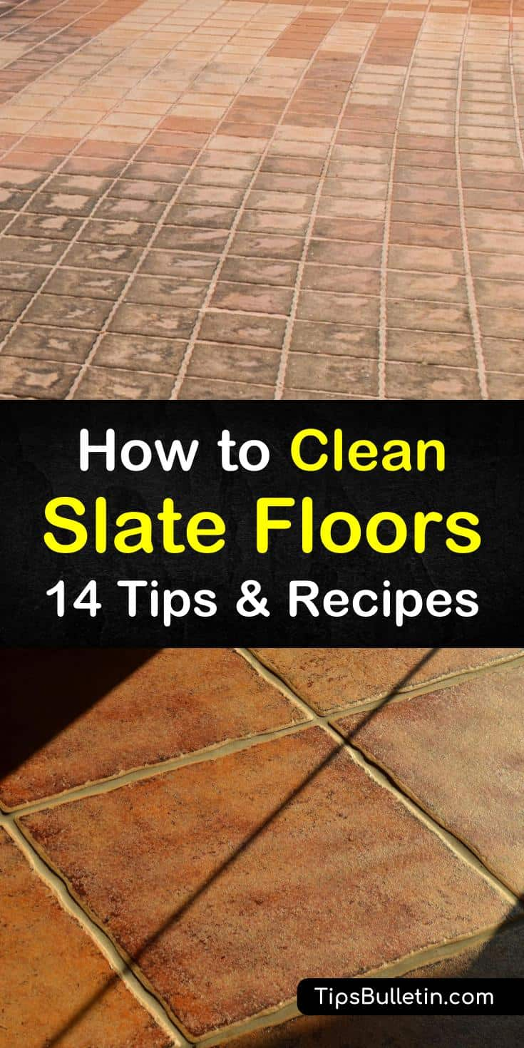 Regular cleaning of slate tile is necessary, but it doesn't have to be done using harsh chemicals. Using a dust mop or mopping with warm water, hydrogen peroxide, mild detergent, and baking soda will clean those slate floors. #slatefloors #cleaningslate #slate