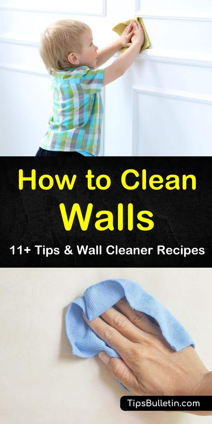 Learn how to clean walls and baseboards the easy way with our handy guide. We show you how to remove smoke stains and other grime with vinegar, baking soda, and much more. Get your walls with flat paint, with gloss paint, and with texture looking sharp. #diycleaners #wallcleaning #walls