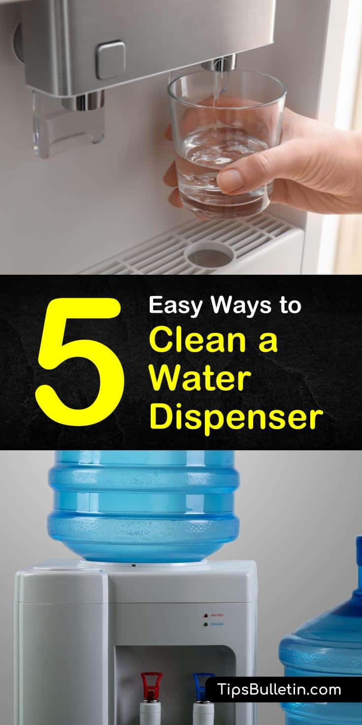 Follow this step-by-step guide for how to clean a water dispenser. Learn how to make vinegar and bleach-based cleaning solutions to sanitize coolers before adding new bottles. Use baking soda to clean the sides of stainless steel water coolers. #howto #clean #water #dispenser #cooler