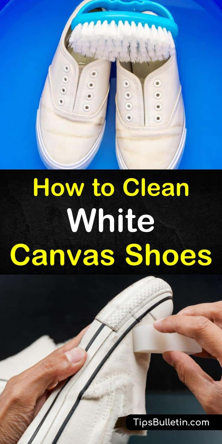 Discover how to clean white canvas shoes using baking soda and with and without hydrogen peroxide with our guide. We show you how to turn those Christmas gifts of Converse canvas sneakers from black with stains to white and like new. #whitecanvasshoes #shoecleaning #cleancanvasshoes
