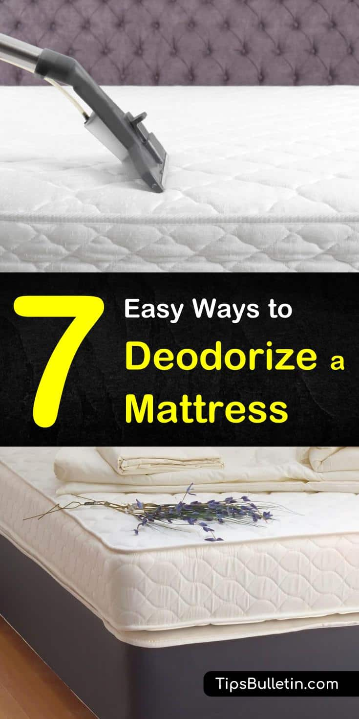 Use our cleaning tips to deodorize a mattress with homemade cleaning products and DIY remedies. There are a number of natural products that you can use to disinfect and freshen. Ingredients include vinegar, baking soda, and hydrogen peroxide. #deodorize #odor #mattress #cleanmattress