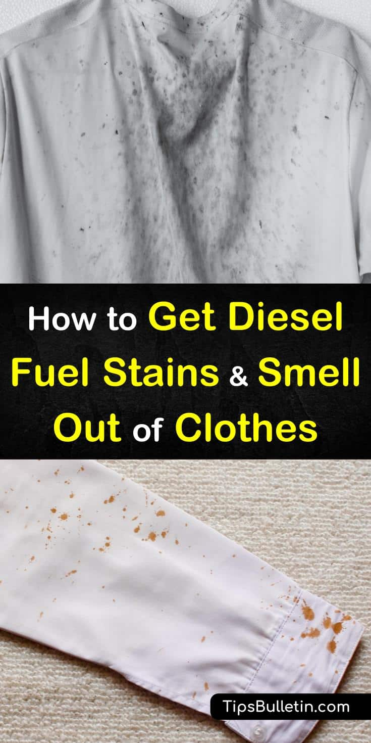 Learn how you can get rid of fuel stains and banish diesel odor from your clothes! Our guide uses accessible ingredients that you can find at any grocery store. With these tips, your clothes will smell fresh next time you do laundry. #laundrytips #fuelstains #diesel
