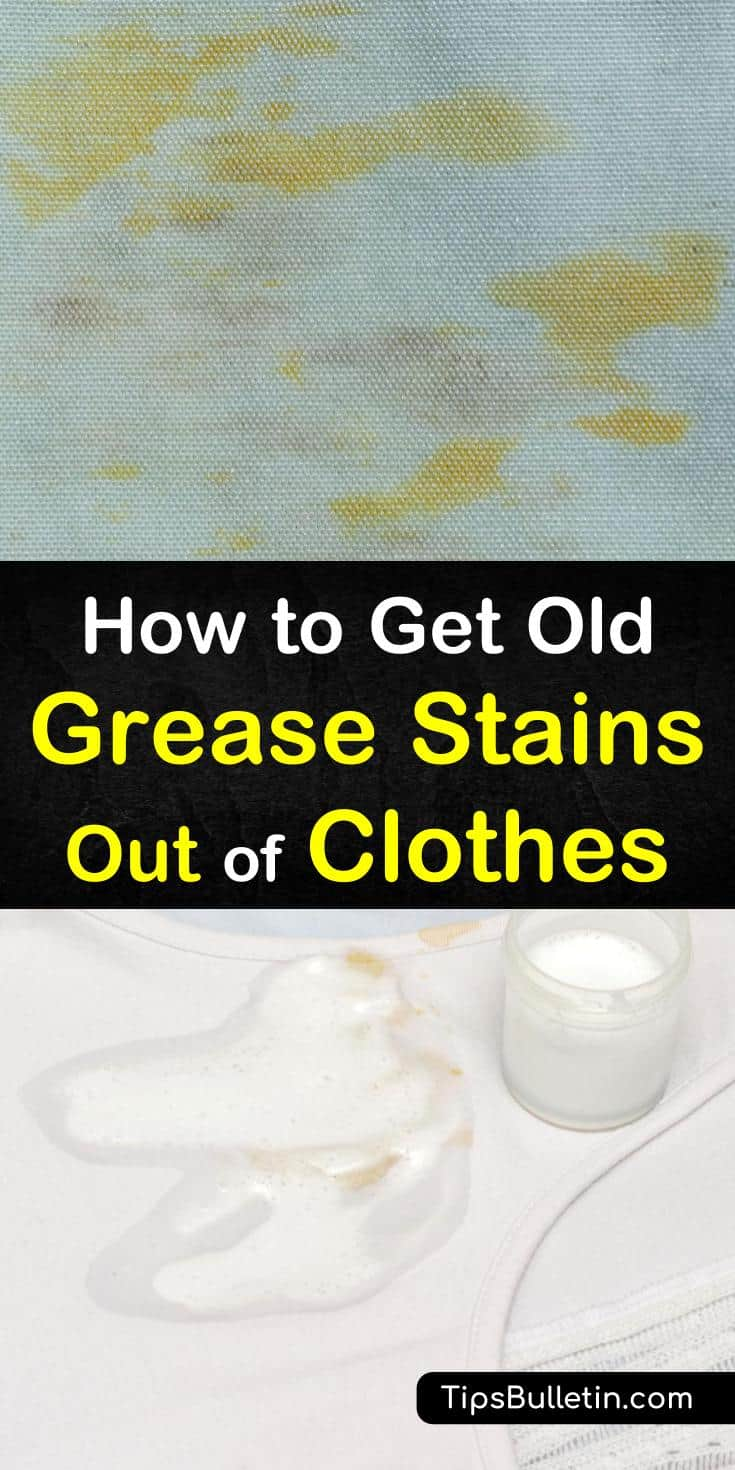 Learn how to remove old grease stains from clothes using household ingredients like baking soda and hydrogen peroxide. These tips are easy to follow and quick to apply so you'll have your clothes stain-free in no time! #clothes #grease #stains #laundry