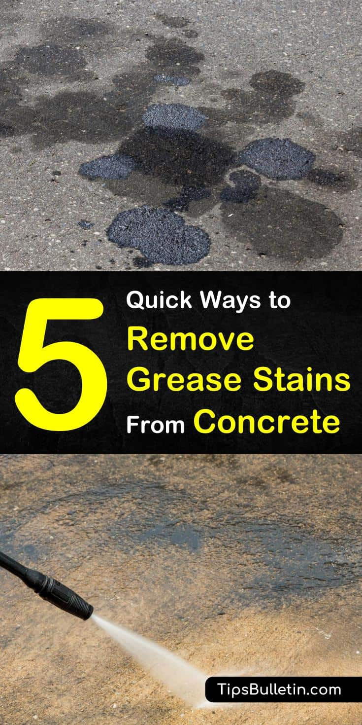 You can easily remove those unsightly grease and oil stains from the concrete driveway and garage concrete floor with these easy DIY methods. We've got homemade recipes for removing grease stains using cat litter, baking soda, vinegar, and dish soap. #concretegreasestains #concretestains #grease