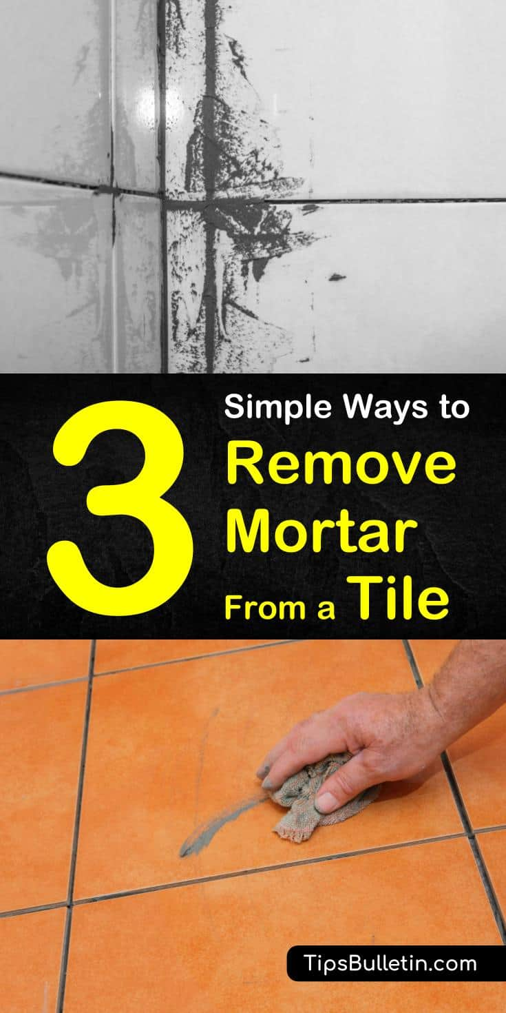 We've got some easy DIY methods for removing mortar from tiles and grout lines. Remove thin-set from tiles easily using soap, vinegar, or muriatic acid, depending on the project. #remove #cleaning #mortar #tiles