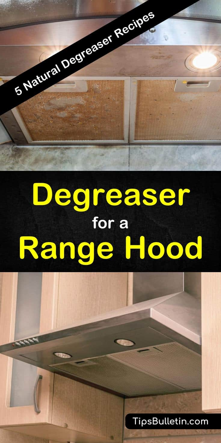 If you've got grease build-up on your kitchen hood, then you'll love these DIY recipes for degreasing the range hood. These non-toxic recipes contain natural ingredients such as baking soda and vinegar to remove greasy food. #degreasearangehood #rangehooddegreaser #rangehoodfiltercleaning