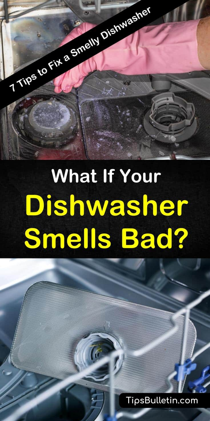 Discover what to do when your dishwasher smells bad with our guide. We give you cleaning tips and recipes that include baking soda and white vinegar to keep your dishwasher smelling clean and fresh. #cleandishwasher #smellydishwasher #dishwashers