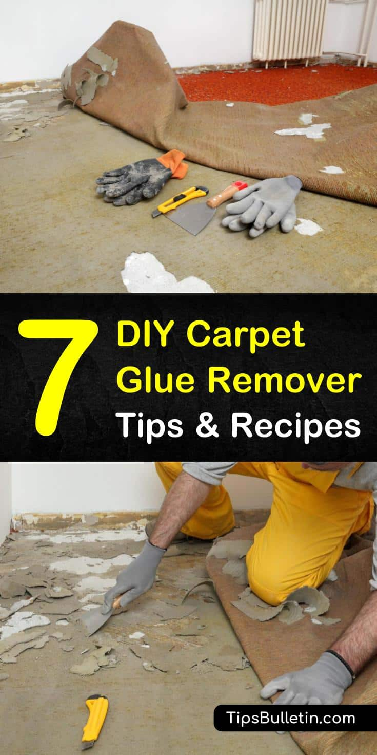 Here are a few step-by-step DIY carpet glue removal methods using white vinegar, dish soap, and elbow grease. You can even loosen carpet adhesive using an iron, some newspaper, and a scraper. #removecarpetglue #howtoremovecarpetglue #removecarpetadhesive