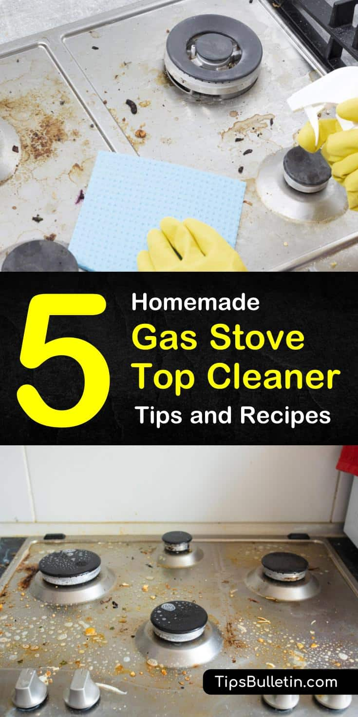 Cleaning a gas stovetop doesn't have to be hard. Let us show you how to use baking soda, vinegar, and other household items as scrubs to deep clean the dirtiest stove tops and finish your oven cleaning. #cleaning #gasstovetops #cleangasstove