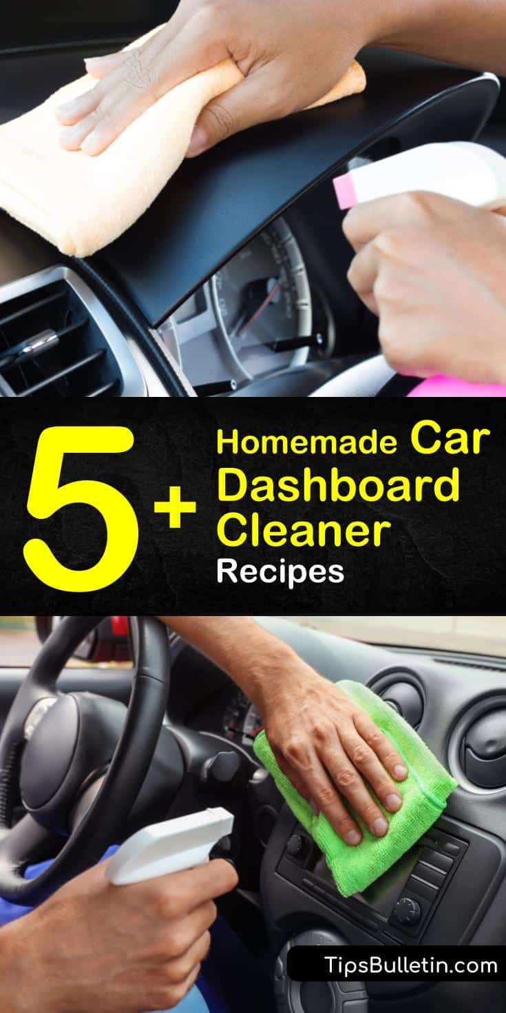 Try these homemade car dashboard cleaner recipes to keep your car shiny. Add these DIY tips to your interior car cleaning arsenal with products like dryer sheets and vinegar. Use baking soda and essential oils to deodorize your car and clean the dashboard. #homemade #car #dashboard #cleaner
