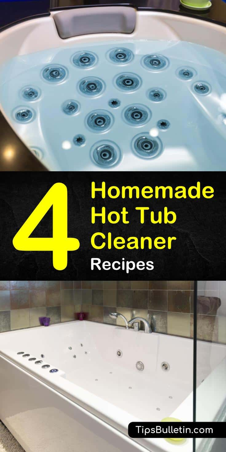 Learn how to use homemade hot tub cleaner made out of vinegar, baking soda, and other natural DIY cleaners to clean soap scum and mildew from fiberglass and wooden hot tubs. You won't believe how clean you can make your tub. #cleanhottub #hottub #tub