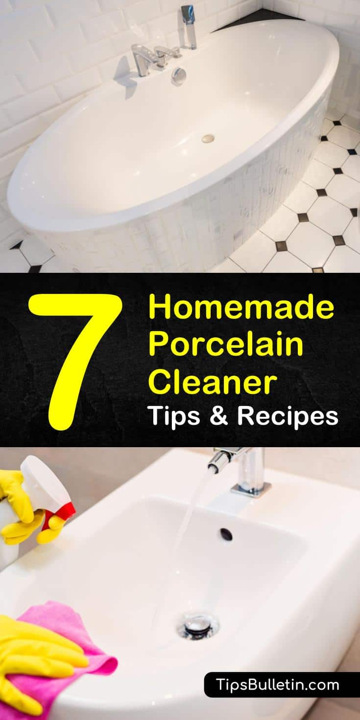 Here are some tips for cleaning rust and grime off kitchen and bathroom porcelain using ingredients such as baking soda and vinegar. Easy to make natural recipes for cleaning the sink, toilet, tile, and any other porcelain surface. #porcelaincleaner #cleaningporcelain #diyporcelaincleaner