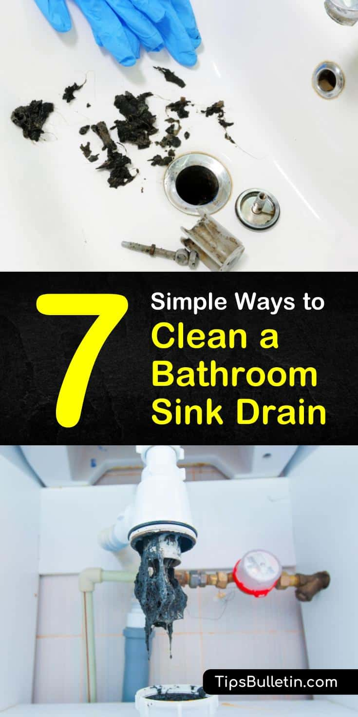 You don't have to call a plumber for unclogging a bathroom sink drain. You can easily remove that toothpaste gunk build-up from the sink drain and drain stopper with boiling water, a plunger, some vinegar, and baking soda. #cleaningadrain #cloggeddrain #stinkydrain