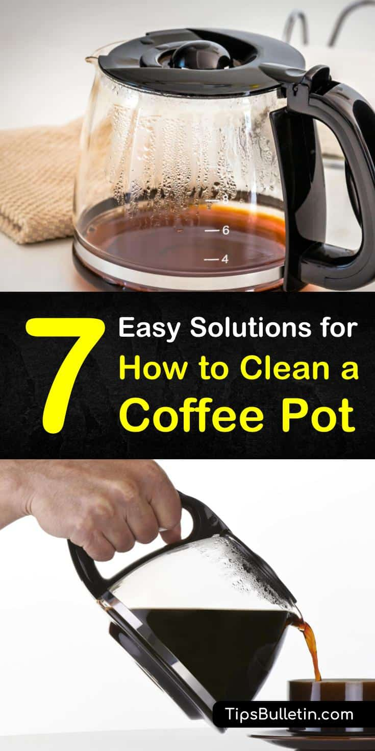 Learn how to clean a coffee pot with common cleaning products like vinegar and dish soap. Try baking soda to remove tough coffee stains from your coffeemaker. Discover the best cleaning options for French presses, Keurigs, and even siphon coffee makers. #clean #coffee #pot #vinegar