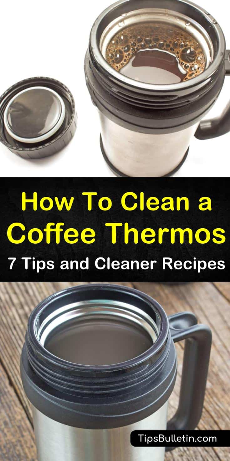 Learn the best ways to remove coffee stains from your travel mugs and thermoses! These cleaning tips all use household items that get rid of grime and build-up, leaving your coffee thermos looking good as new. #clean #coffeethermos #thermos