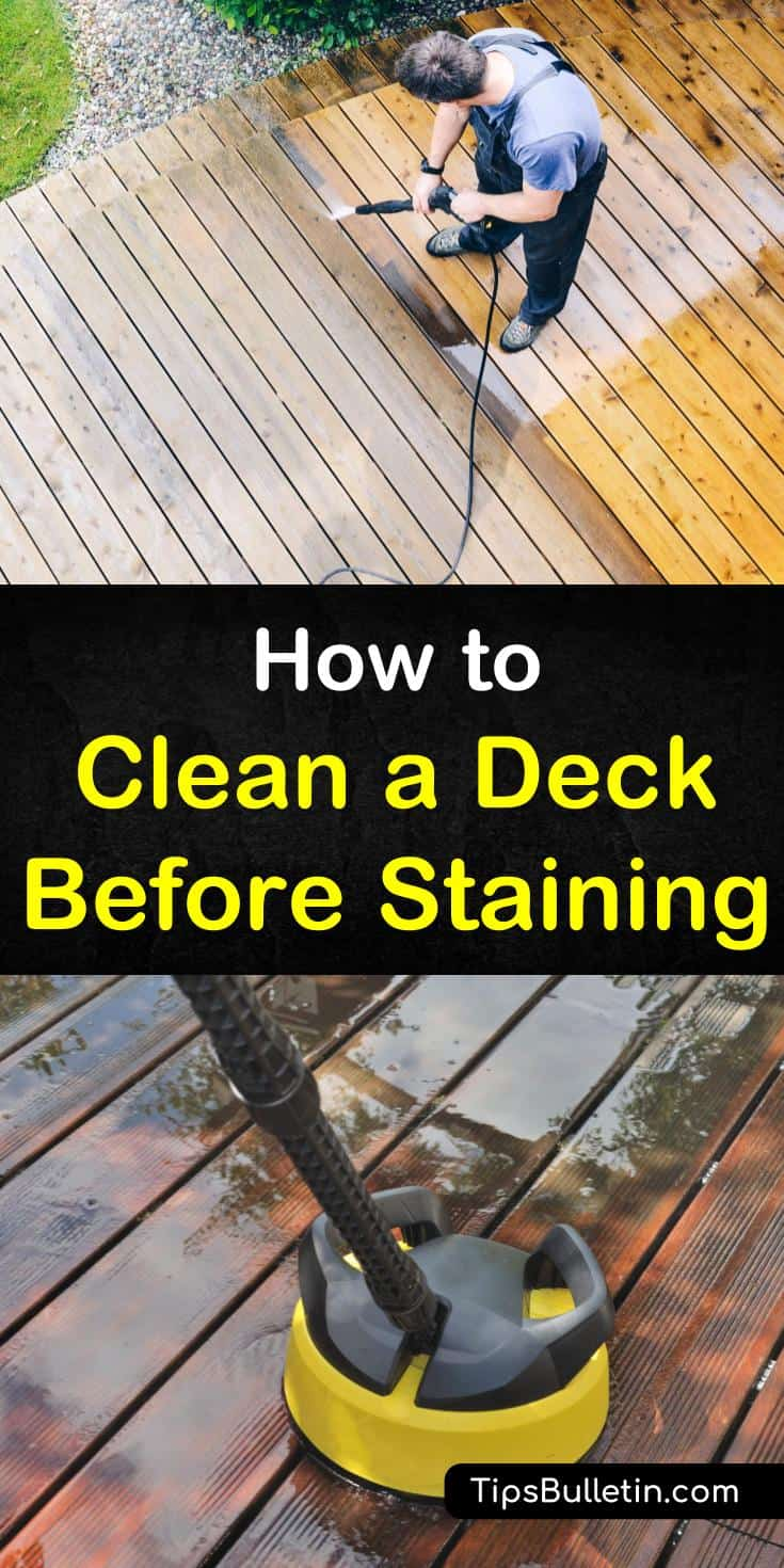 Discover how to clean a deck before staining, and make your home look beautiful. We show you how to use a broom and power washer to prepare your deck for a new staining. Your deck will transform into a thing of beauty. #cleaning #deckstaining #cleandeck