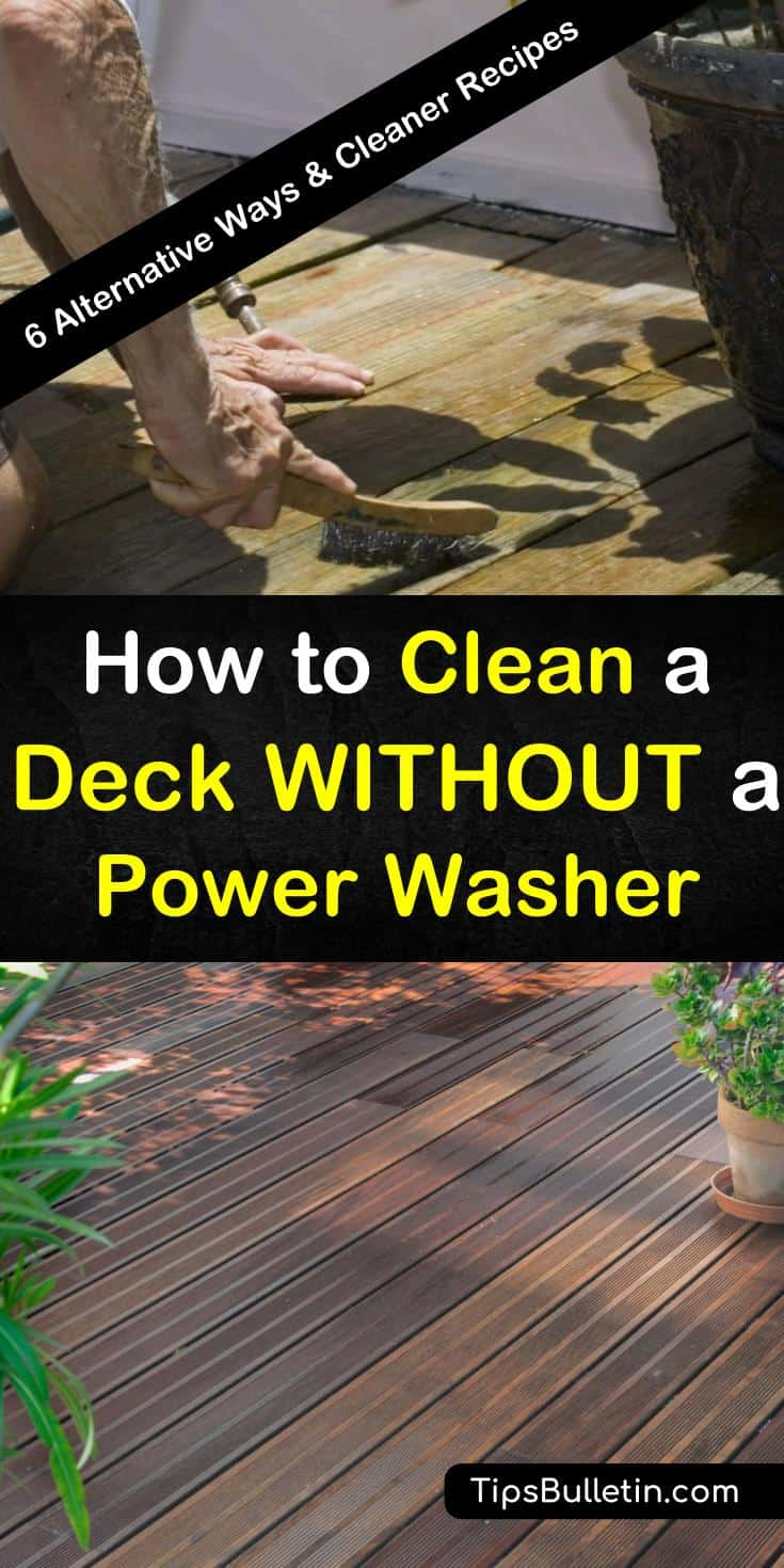 Power washing is not the only natural way to clean your deck, although it is the fastest. We teach you several other methods you can use to clean and scrub your deck to get it ready for entertaining or staining. #deckcleaning #powerwasher #deck