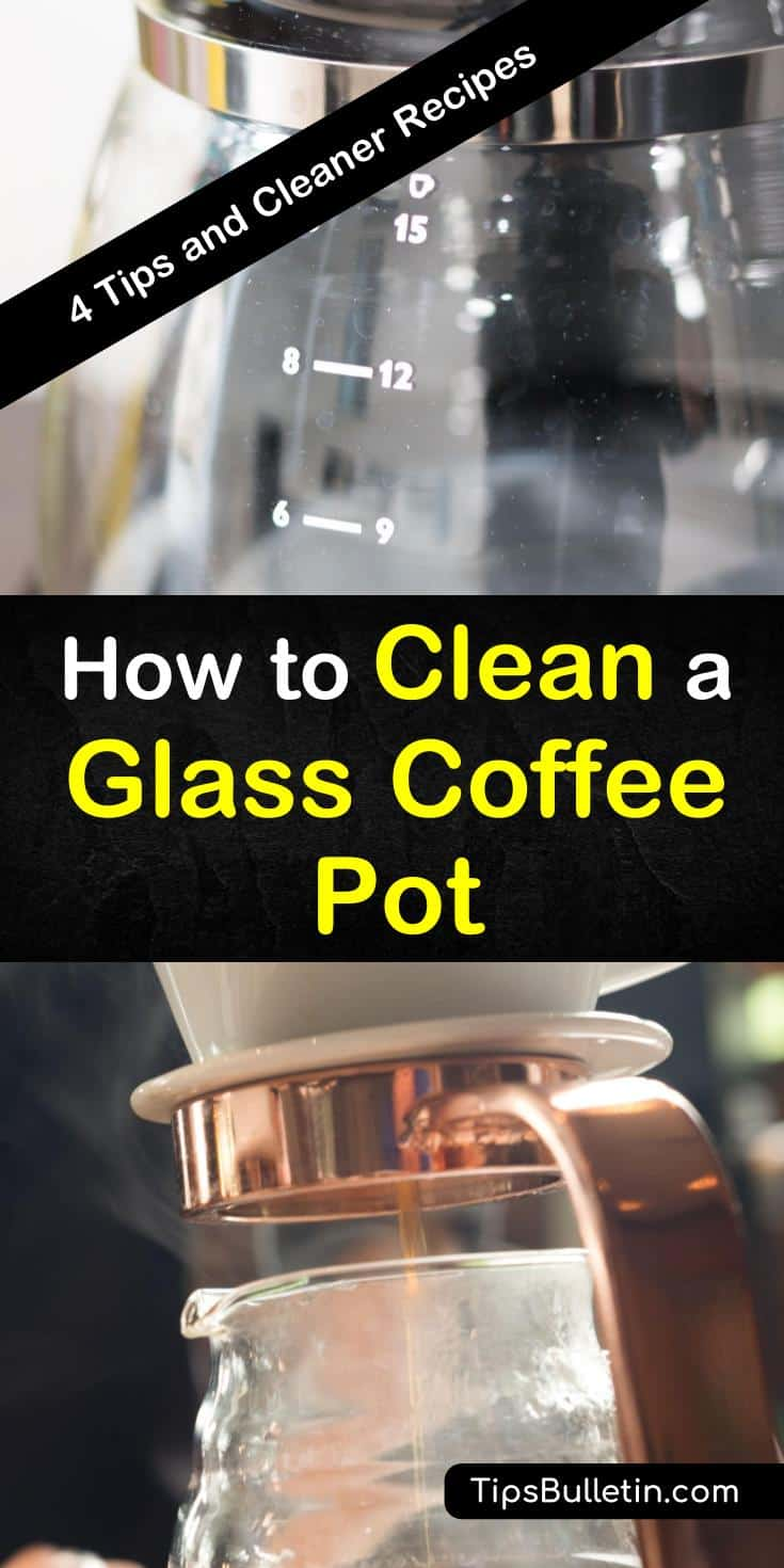 These tips show you how to remove coffee stains and hard water stains off a glass coffee pot with vinegar, baking soda, and even ice. Some of these cleaner recipes can also clean stainless steel. #glasscoffeepotcleaner #howtocleanacoffeepot #coffeepotcleaning