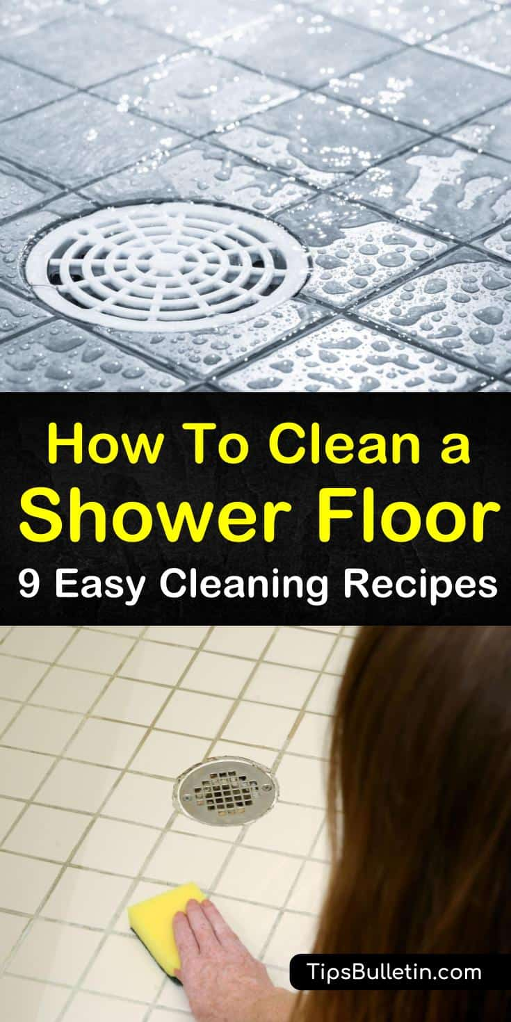 We've got DIY cleaner recipes for cleaning the shower floor. Remove hard water stains, mold, and soap scum from shower tile and grout, and fiberglass using natural household ingredients such as vinegar and baking soda. #cleaningashowerfloor #showercleaner #howtocleanshowerfloor