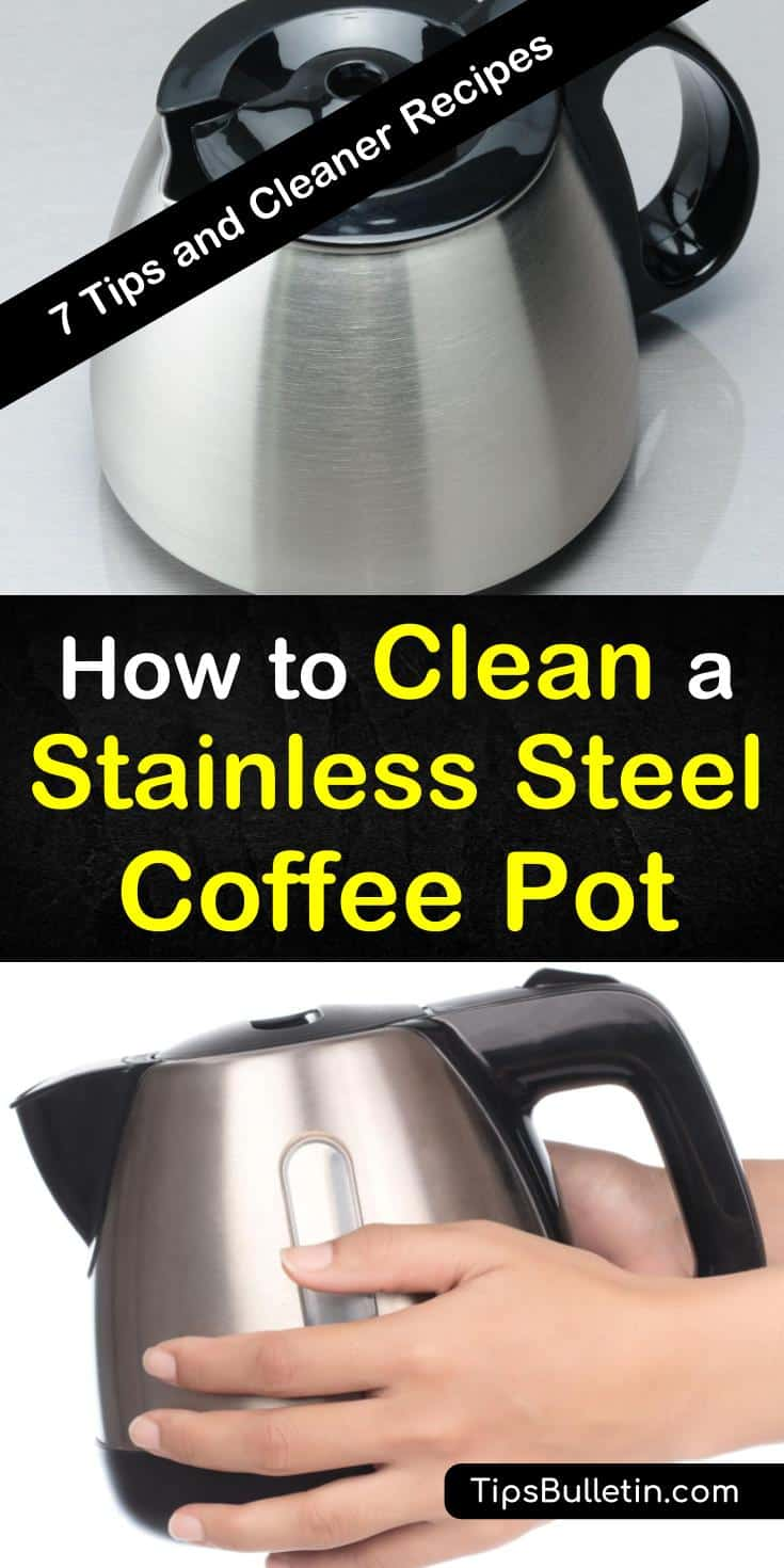 You can easily remove coffee and water stains from your stainless steel coffee pot using natural ingredients. Use vinegar, baking soda, and hydrogen peroxide to bring the shine back to that stainless steel carafe. #cleanstainlesssteel #cleancoffeepot #coffeepot