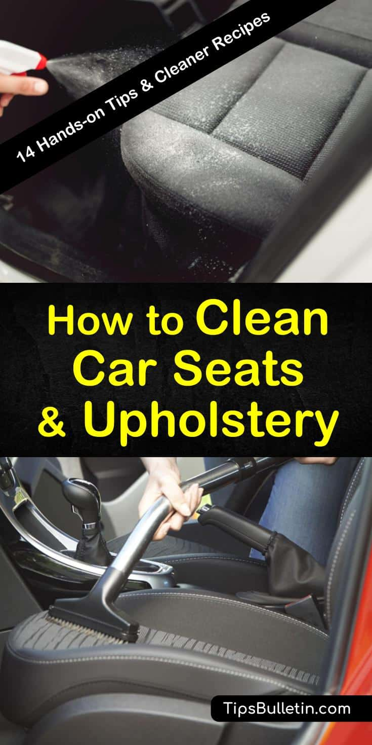 Discover some amazing new tips for how to clean car seats and upholstery. Whether cleaning leather seats or cloth fabric, try classic cleaners like vinegar and baking soda for a routine clean. You can even try cleaners like hairspray and lemon juice to remove stains. #clean #car #seats