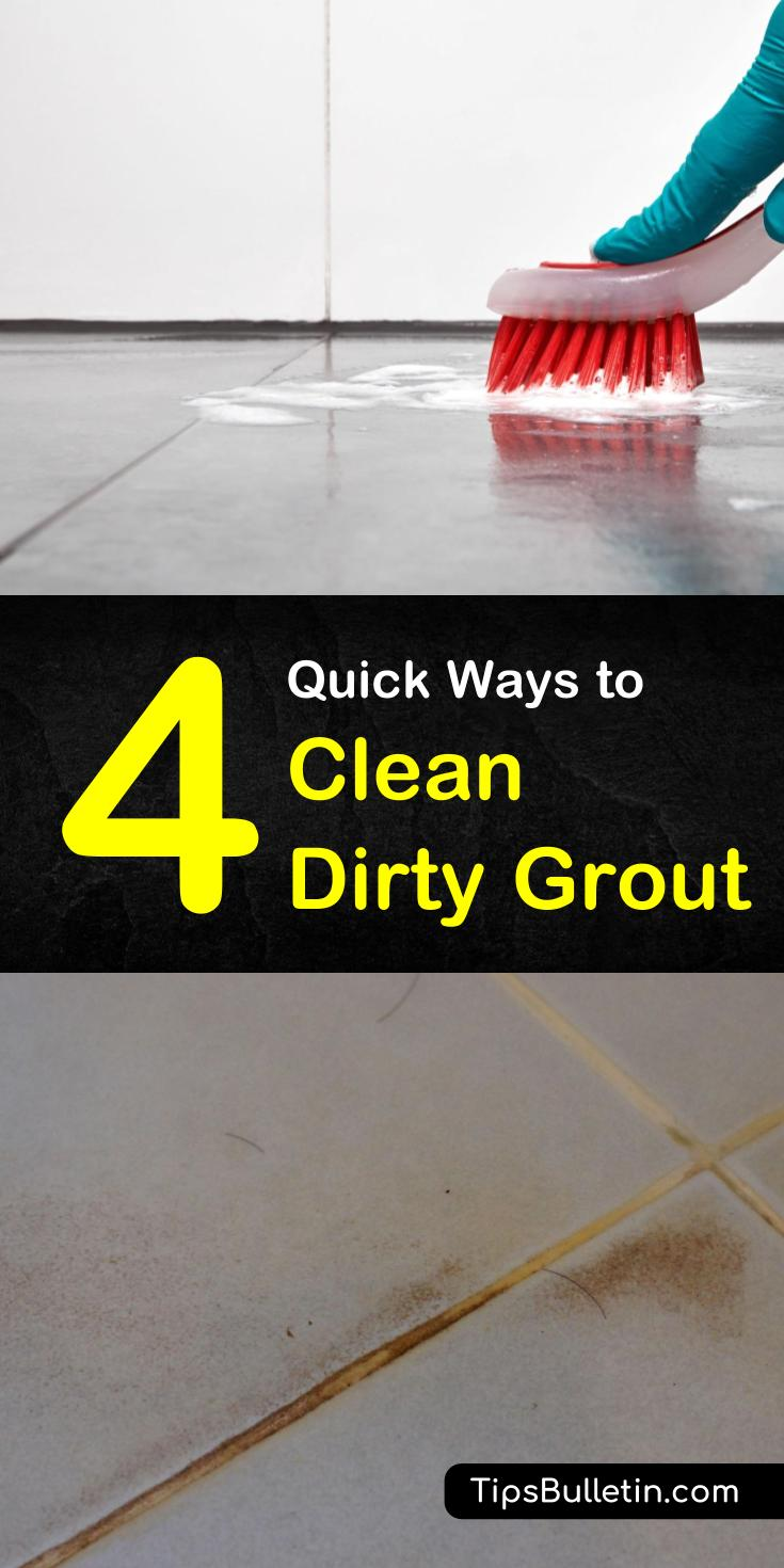Discover 4 amazing home remedies for how to clean dirty grout in kitchen and bathroom floors. If you have dirty tiles, you can use household products like hydrogen peroxide and baking soda to scrub off grime. #cleaningdirtygrout #diy #cleaning #grout