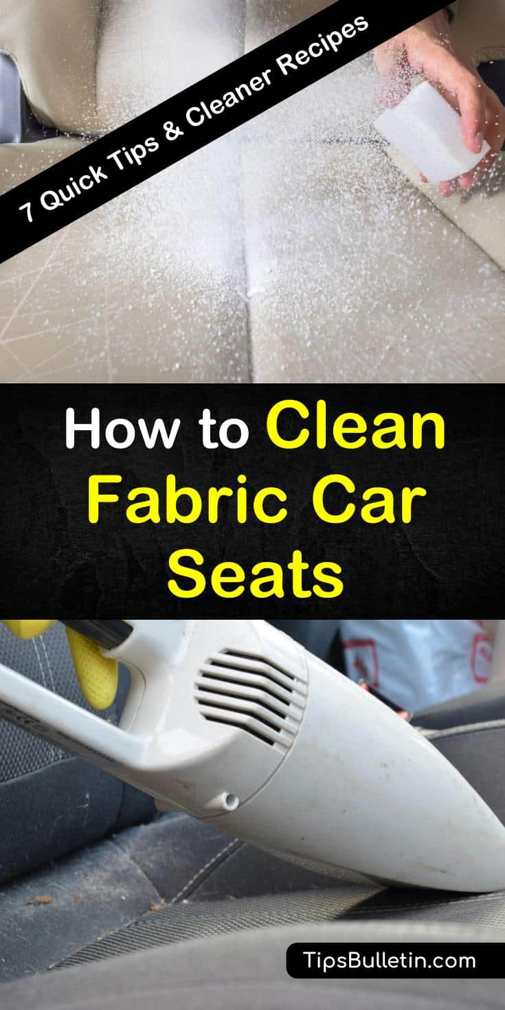 We have upholstery cleaner recipes and tips to remove stains, clean seat fabric, and freshen car seats in vehicles using simple ingredients such as vinegar, baking soda, and laundry detergent. #cleancarseats #carseatcleaner #cleanfabriccarseats #dirtycarseat #carseatstains