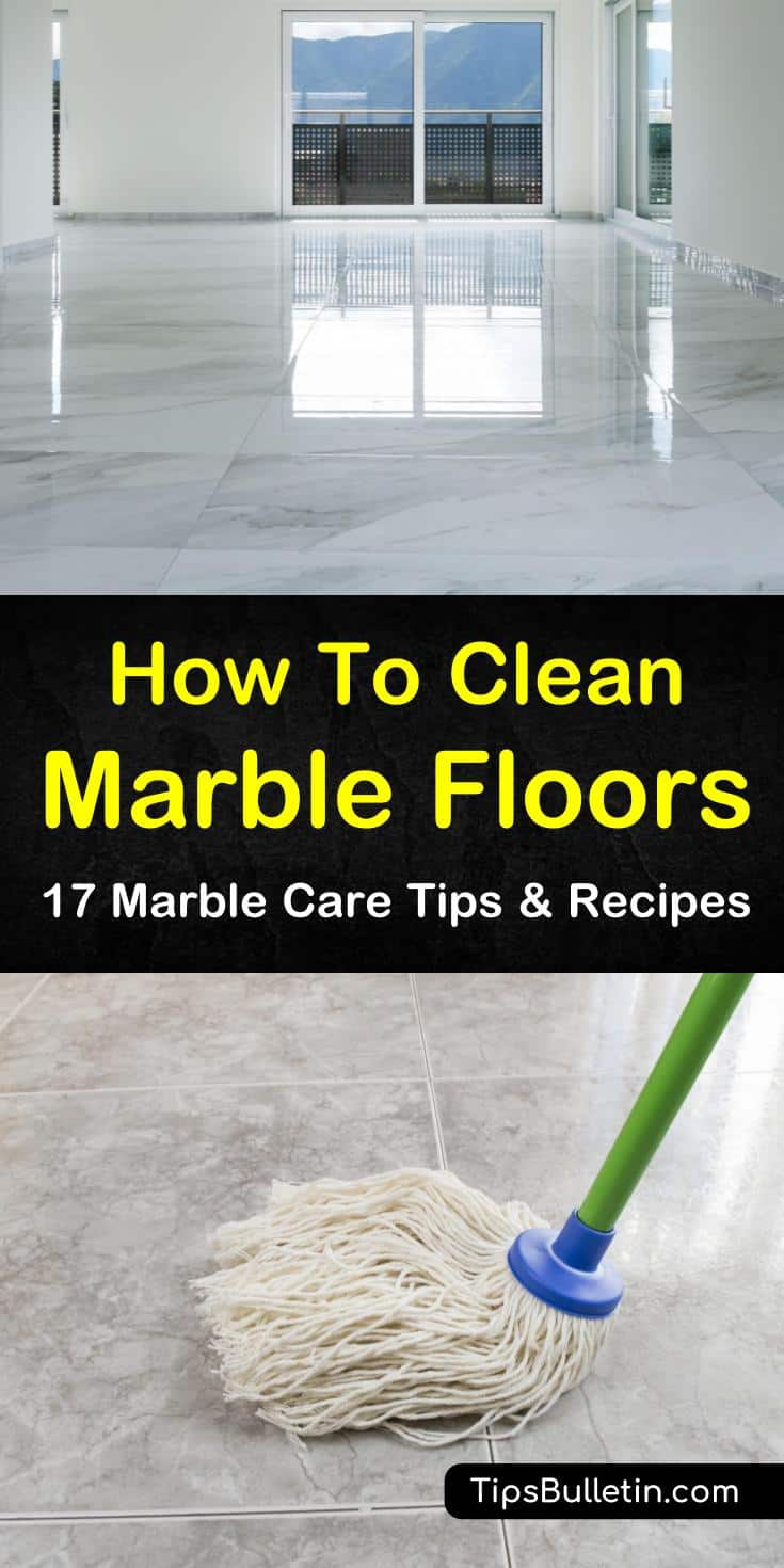 Try these great options for how to clean marble floors using cleaning products like baking soda and hydrogen peroxide. Discover what to use and what not to use on a marble surface. Learn the best ways to protect your marble flooring whether with a sealer or rugs. #clean #marble #floors