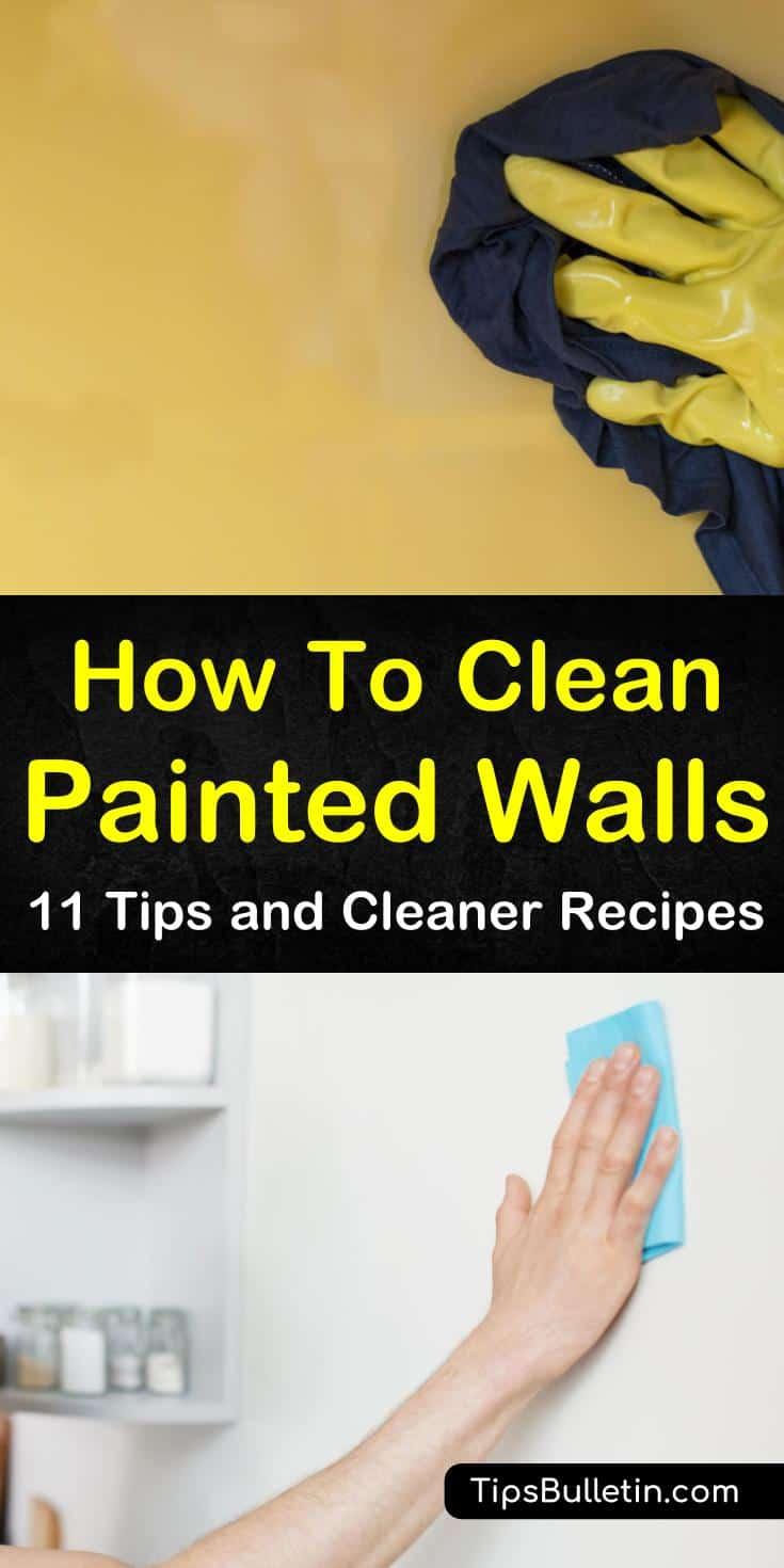 We show you how to remove stains from painted walls in the house using vinegar, baking soda, and other household items. Our easy DIY cleaner recipes will have your walls looking like new. #cleaningpaintedwalls #howtocleanwalls #washpaintedwalls