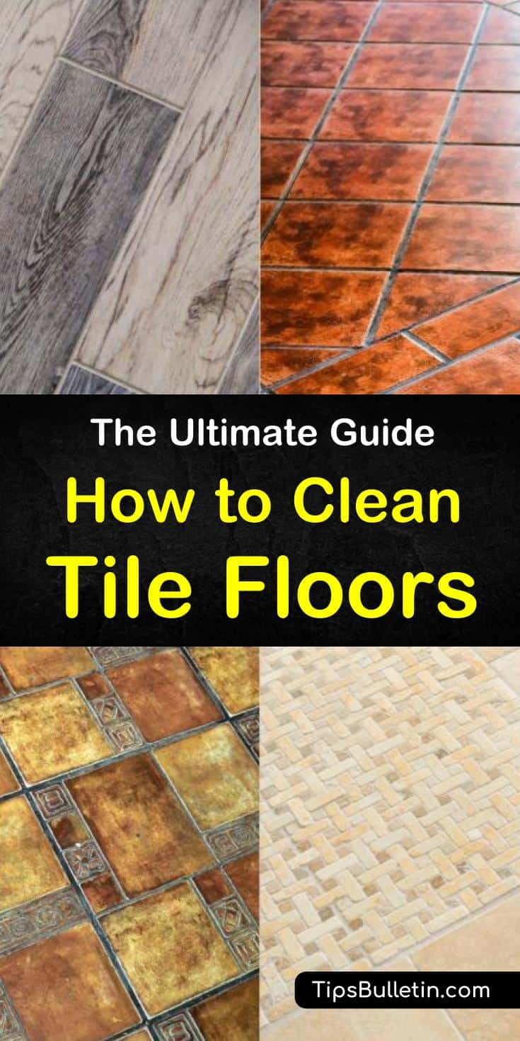 Discover cleaning tips and find out how to clean tile floors with our ultimate guide. We show you how to use baking soda, white vinegar, microfiber mops, your old toothbrush, warm water, and other cleaning products to remove grime by mopping and scrubbing. #tilefloorcleaning #tiles #floorcleaning